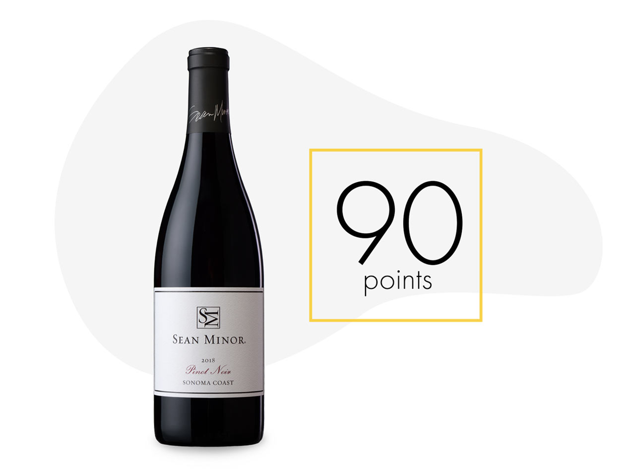 A bottle of the 2018 Sean Minor Sonoma Coast Pinot Noir with
